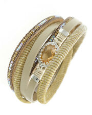 Multi Strand Leatherette & Glass Topaz Stone Wrap Bracelet Magnetic Closure