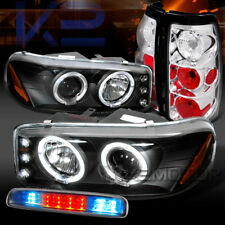 99-03 GMC Sierra Black Projector Headlights+Chrome Tail LED 3rd Brake Lamps