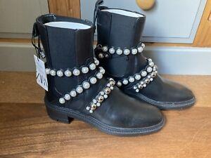 BNWT Black ZARA Track Sole Embellished Boots SIZE 6 UK NEW
