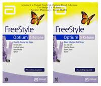 Genuine 2 x Abbott FreeStyle Optium Blood ß-Ketone Test Strips 2 x 10 Pack