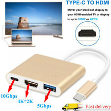 USB Type C to USB-C 4K HDMI USB 3.0 Adapter Cable 3 in 1 Hub For Macbook Pro New