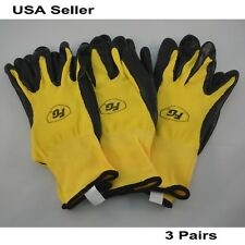 Firm Grip Nitrile Rubber Coated Large Work Gloves 3 Pairs Construction Mechanic