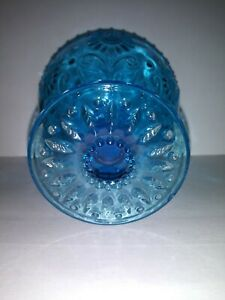 Blue Footed Glass / Goblet with Daisy Flower