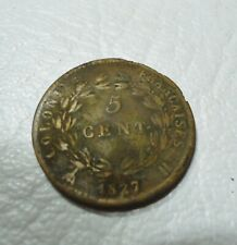 FRANCE 1827 H 5 CENT. COIN. FRANCH COLONIES. CHARLES X