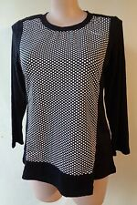 EVERSUN New Black white panel stretch top size 16 NWT long sleeves