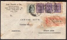 2449 PERU TO ARGENTINA REGISTERED COVER 1916 POSTMARK ON BACK LIMA - Bs. As.
