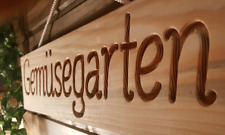 Gemüsegarten - Schild, Douglasie, Holz massiv, gefräste Gravur, Garten, 58 cm