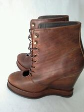 Free People Lace-up Boots Wrapped Wedge Heel Leather Brown Women's Sz 37 EU