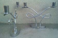 paire bougeoirs chandelier art deco  metal chromé martelé jugendstil ? lampe