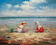 AT THE BEACH Original Oil painting by Jose Barbero - 55x66 cm