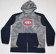 MONTREAL CANADIENS Zipper Hoodie Sweatshirt POLYESTER Men Large L REEBOK Hockey