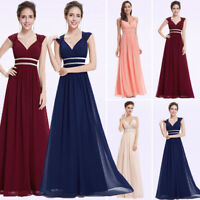 Womens Cocktail Party Dress Long V-Neck A-line Formal Prom Beaded Ball Gown