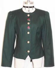 FRANKONIA GREEN WOOL JACKET Blazer Women ROSES EMBR German Fitted 38 6 S B36""