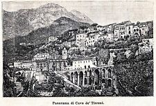 Cava de' Tirreni: Panorama. Salerno. Stampa Antica + Passepartout. 1891