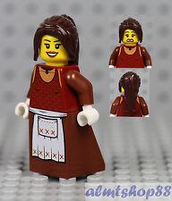 LEGO - Minifigure Brown Apron Dress Brown Ponytail Hair Peasant Girl Maid Castle