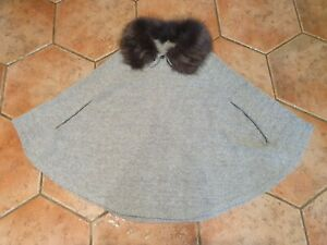 GIRLS GREY GLITTER PONCHO FROM NEXT WITH REMOVABLE FAUX FUR COLLAR - 7-10 YEARS