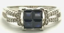 Sterling Silver Blue Sapphire Cluster Diamond Pave Bow Wedge Cocktail Band Ring