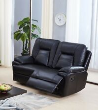 Black Leather Gel 2 Seater Recliner Reclining Sofa Suite ROCKFORD
