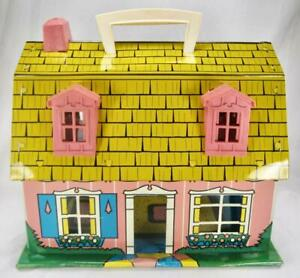 Marx Tin Lithograph Dollhouse 2 Story Toy Doll House Pink Yellow Vintage 1950 O2