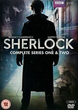 SHERLOCK<>THE COMPLETE SERIES 1 & 2<>DVD BOXSET<>4 discs 6 episodes