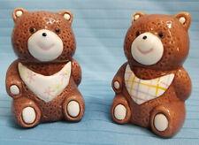 Teddy Bears Salt & Pepper Shakers Whimsical Ceramic ROC Brown White