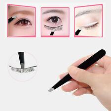 Fashion Stainless Steel Black Eyebrow Tweezers Hair Beauty Slanted Tweezer Tool