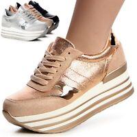 Damenschuhe Plateau Sneaker Turnschuhe Stiefeletten Derby Halbschuhe Trendy