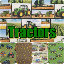TRACTORS Farm Machinery Theme Agriculture Farmer 100% Cotton Patchwork Fabric