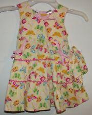 Blueberi Girls Spring/Easter Dress-Yellow/Pink Butterflies-Bandana-24 Months-New