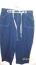 Riders ladies 16M capri jeans draw string 4 pockets 33 in L 36 in waist 21.5 in