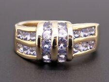14k Yellow Gold Round 1ct Tanzanite Cluster Wave Channel Set Band Ring Size 7.5