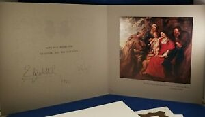 Christmas Card Auto Signed Queen Elizabeth II And Prince Phillip