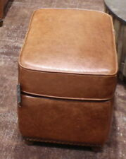 """22"""" W Beautiful Ottoman Top Grain Light Brown Leather Handcrafted Loveseat Poufe"""