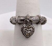 Sterling Silver Judith Ripka CZ Dangle Heart Ring