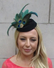 Black Dark Green Gold Peacock Feather Pillbox Hat Hair Clip Fascinator Vtg 6238