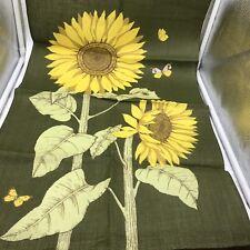 New Vintage Retro Sunflower Butterfly Design Linen Tea Towel Green Yellow
