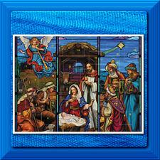 Advent Calendar Stained Glass Nativity Christmas 24 Windows Pockets NEW!