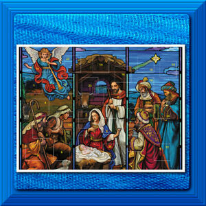 Advent Calendar Stained Glass Nativity Christmas 24 Windows Pockets NEW!