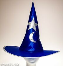 Witch / Wizard Hat Bl & Silver Poly Satin Wired Brim Star & Moon Costume Hat
