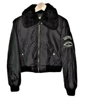 Air Force Womens Medium Bomber Faux Shearling Collar Jacket Black Angels Patch