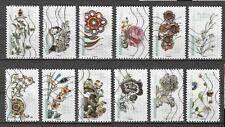 série de timbres français oblitérés de 2017 fleurs et métiers