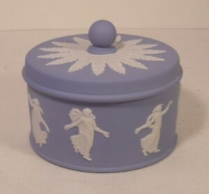 Rare Wedgwood Dancing Hours Blue Jasper Ware Trinket Box