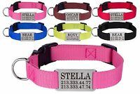 Dog Collar Nylon Optional Personalized Engraved Nameplate S M L Pink Red Blue