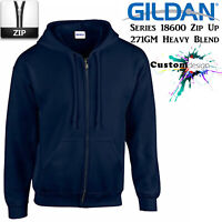 Gildan Navy Blue Zip Up Hoodie Heavy Blend Basic Hooded Sweatshirt Sweater