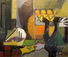 Quality PICASSO PERIOD 1960's CUBIST ABSTRACT Oil Painting THE BOAT YARD