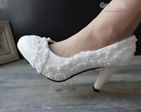 Lace white ivory Pearls Wedding shoes Bridal flats low high heel pump size 5-12