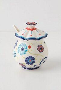 Anthropologie Garden Swirl Sugar Bowl With Spoon (No Creamer) Retired Very Rare