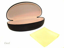 New Women Clam Shell Sunglasses Hard Case Black w/ Free Cleaning Cloth C1048