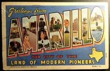 "Postcard Large Letter ""Greetings from Amarillo"" Texas Modern Pioneers 1942"