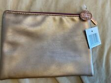 New Maybelline Essie Gold Cosmetic Zip Pouch Make Up Bag